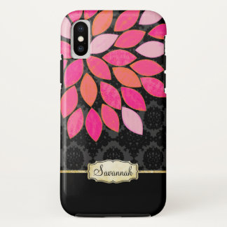 Personalisierter orange rosa schwarzer GoldiPhone iPhone X Hülle