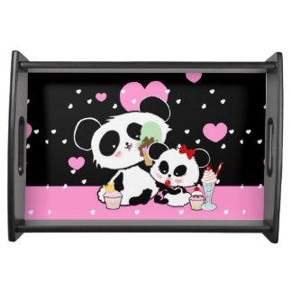 Personalisierter Pandabärn-Picknickbehälter Tablett