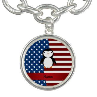 Personalisierter patriotischer Namenspenguin Charm Armbänder