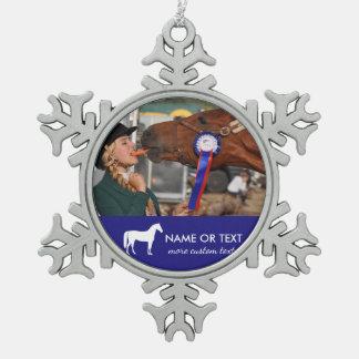 Personalisierter Pferderuecken-ReitFoto-Reiter Schneeflocken Zinn-Ornament