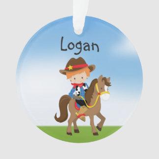 Personalisierter Redhead-Cowboy auf Ornament