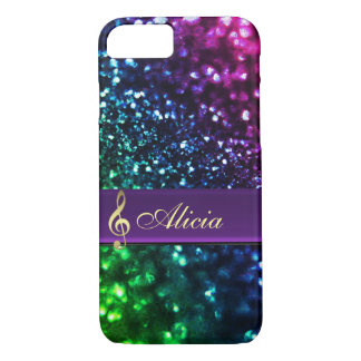 Personalisierter Regenbogen-Glitter-Musik iPhone 7 iPhone 8/7 Hülle