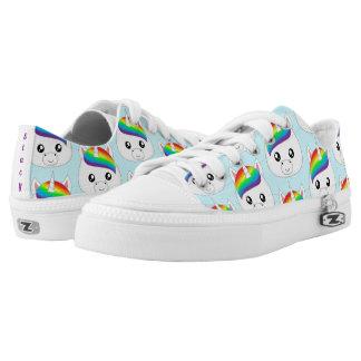 Personalisierter Regenbogen niedlicher Kawaii Niedrig-geschnittene Sneaker