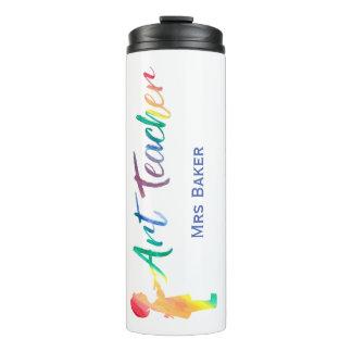 Personalisierter Regenbogenwatercolor-Kunstlehrer Thermosbecher