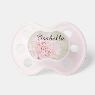 Personalisierter rosa Blumenbaby-Schnuller mit Schnuller