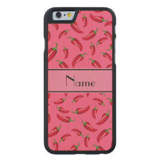 Personalisierter rosa Chilinamenspfeffer Carved® iPhone 6 Hülle Ahorn
