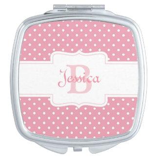 Personalisierter rosa Polka-Punkt Schminkspiegel