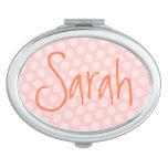Personalisierter rosa Polka-Punkt Taschenspiegel
