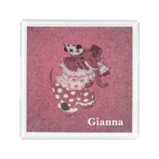 Personalisierter rosa Retro Zirkus-Elefant Acryl Tablett