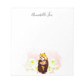 Personalisierter rosa roter Panda-mit Notizblock
