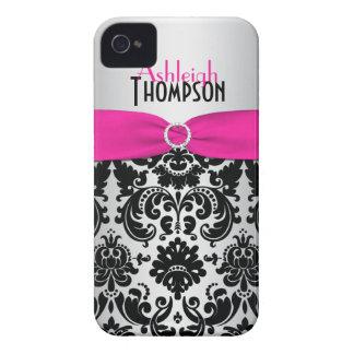 Personalisierter rosa, schwarzer, silberner Damast Case-Mate iPhone 4 Hüllen