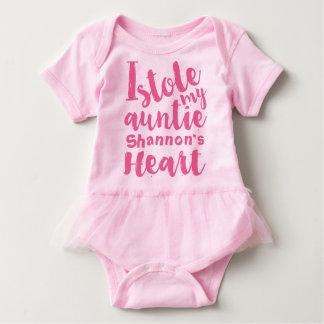 Personalisierter rosa Tutu stahl mein Tanten-Herz Babybody