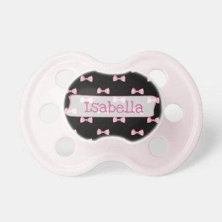 Personalisierter rosa und schwarzer schnuller