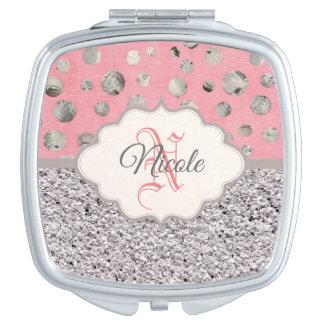 Personalisierter rosa und silberner Glitzer Schminkspiegel