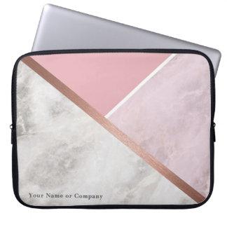 Personalisierter Rosen-Goldmarmor-Laptop-Kasten Laptopschutzhülle