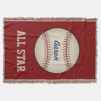 Personalisierter roter Baseball trägt umfassendes Decke