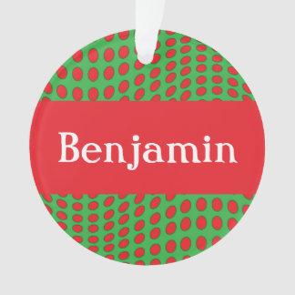 Personalisierter roter Polka-Punkt mit Namen Ornament