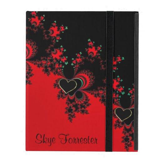 Personalisierter roter schwarzer Herz-Fraktal iPad iPad Schutzhüllen