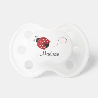 Personalisierter roter und schwarzer Marienkäfer Baby Schnuller