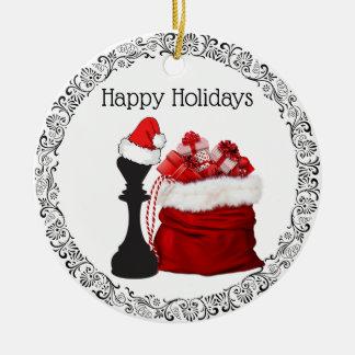 Personalisierter Schach-König Sankt Holiday Keramik Ornament