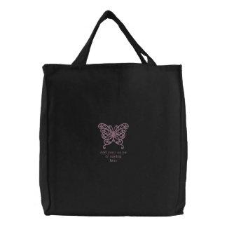 Personalisierter Schmetterling gestickte Leinwand- Tasche