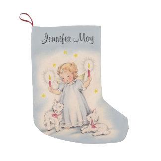 Personalisierter schöner Vintager Engel mit Kleiner Weihnachtsstrumpf