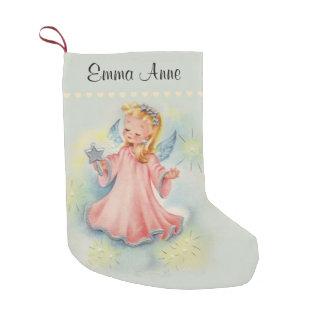 Personalisierter schöner Vintager Mädchen-Engel Kleiner Weihnachtsstrumpf
