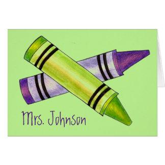 Personalisierter Schullehrer-lila grüner Karte