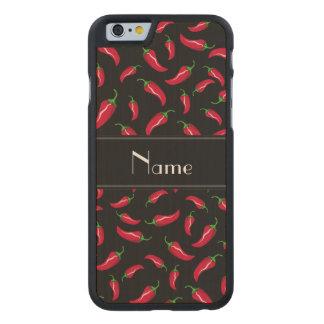 Personalisierter schwarzer Chilinamenspfeffer Carved® iPhone 6 Hülle Ahorn