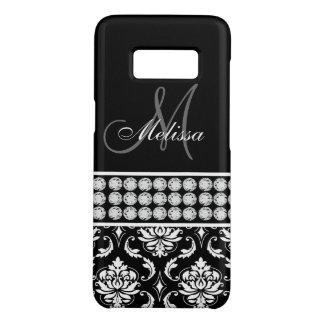Personalisierter schwarzer Damast-Girly Case-Mate Samsung Galaxy S8 Hülle