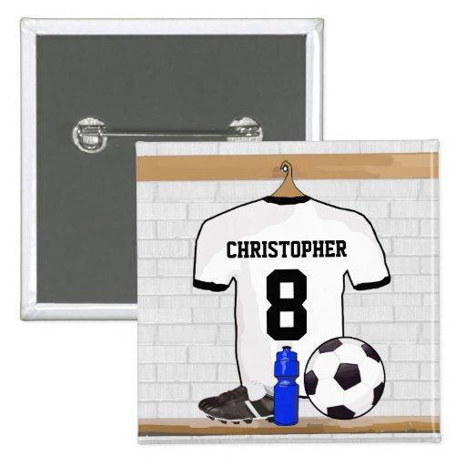 Personalisierter schwarzer Fußball-Fußball Jersey  Button