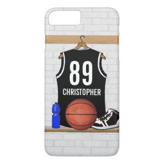 Personalisierter Schwarzweiss-Basketball Jersey iPhone 7 Plus Hülle