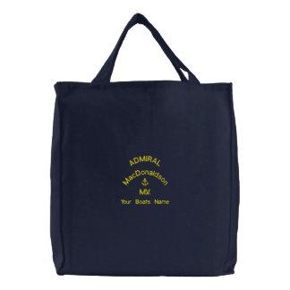 Personalisierter Segelnadmiral- und -bootsname Bestickte Einkaufstasche