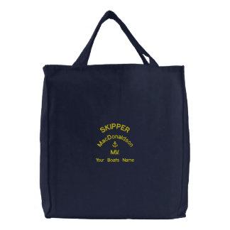 Personalisierter Segelnkapitän- und -bootsname Bestickte Einkaufstaschen