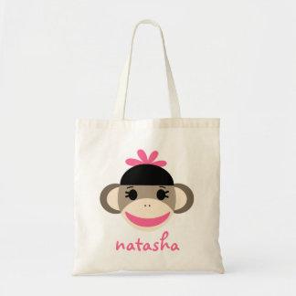 Personalisierter Socken-Affe Bookbag Einkaufstaschen