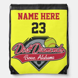 Personalisierter Softball-Rucksack-Name, Zahl, Turnbeutel