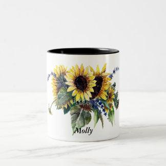 Personalisierter Sonnenblume-Blumenstrauß Zweifarbige Tasse
