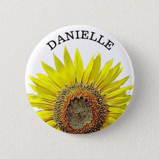Personalisierter Sonnenblume-Namen-Knopf Runder Button 5,1 Cm