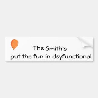Personalisierter Spaß in dysfunktionellem Autoaufkleber