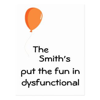Personalisierter Spaß in dysfunktionellem Postkarten