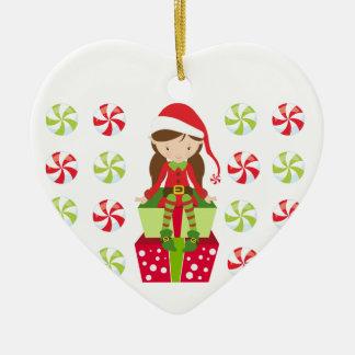 Personalisierter Süßigkeits-Weihnachtself Keramik Ornament