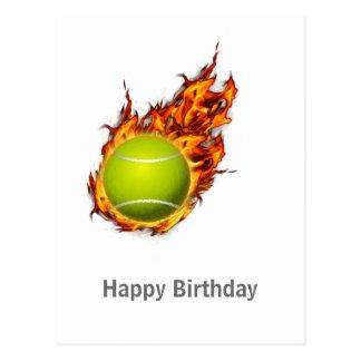 Personalisierter Tennis-Ball auf Postkarte