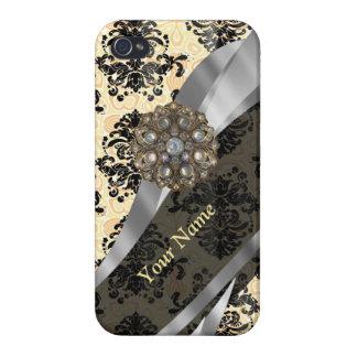 Personalisierter traditioneller Vintager Damast iPhone 4 Case
