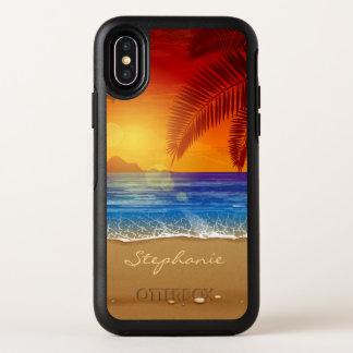 Personalisierter tropischer Strand-Sonnenuntergang OtterBox Symmetry iPhone X Hülle