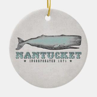 Personalisierter Vintager Wal Nantucket Keramik Ornament