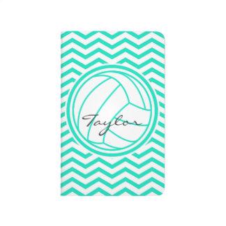 Personalisierter Volleyball; Aqua-grünes Zickzack Taschennotizbuch