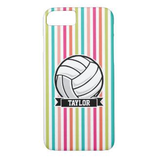 Personalisierter Volleyball auf bunten Streifen iPhone 8/7 Hülle