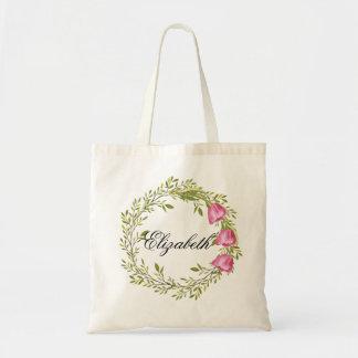 Personalisierter WatercolorblumenWreath Bridemaids Tragetasche