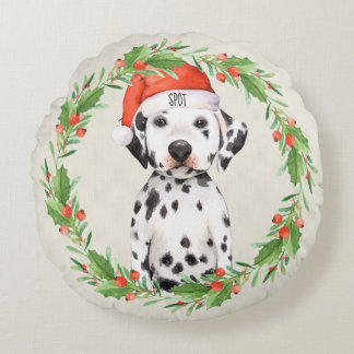 Personalisierter Weihnachtsfeiertags-Dalmatiner Rundes Kissen