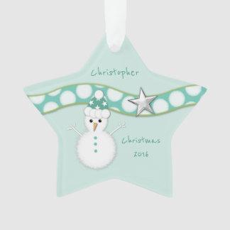 Personalisierter Weihnachtssnowmangrün-Stern Enkel Ornament